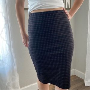 Philosophy Pull-On Stretch Pencil Skirt Gray Plaid